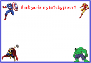 avengers thank you card